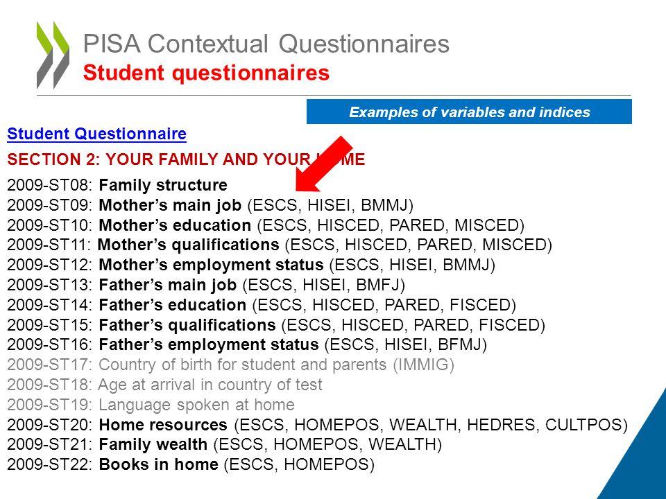 PISA Contextual Questionnaires Student questionnaires