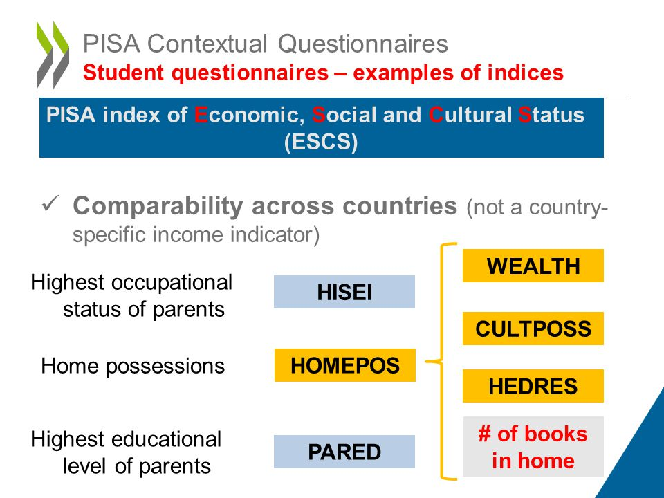 PISA Contextual Questionnaires Student questionnaires – examples of indices
