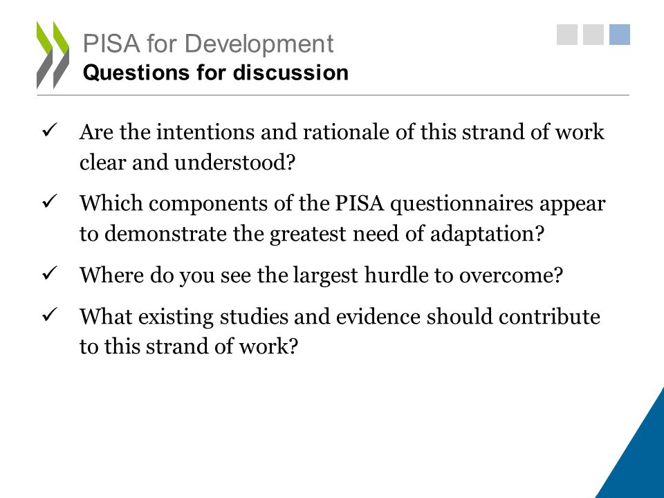PISA for Development Questions for discussion