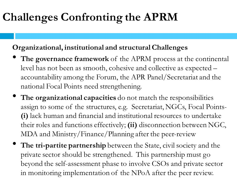 Challenges Confronting the APRM