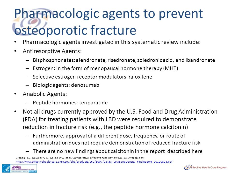 Pharmacologic agents to prevent osteoporotic fracture