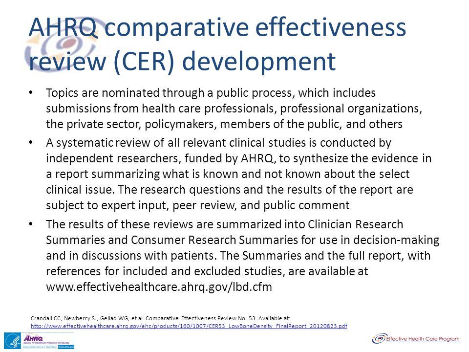 AHRQ comparative effectiveness review (CER) development