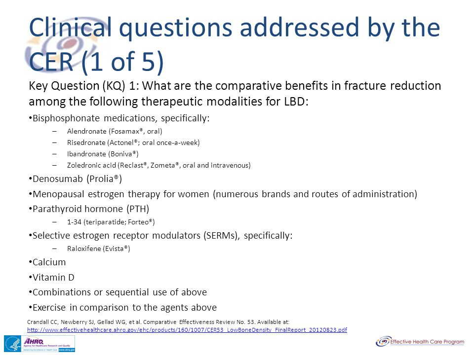 Clinical questions addressed by the CER (1 of 5)