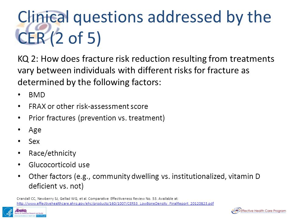 Clinical questions addressed by the CER (2 of 5)