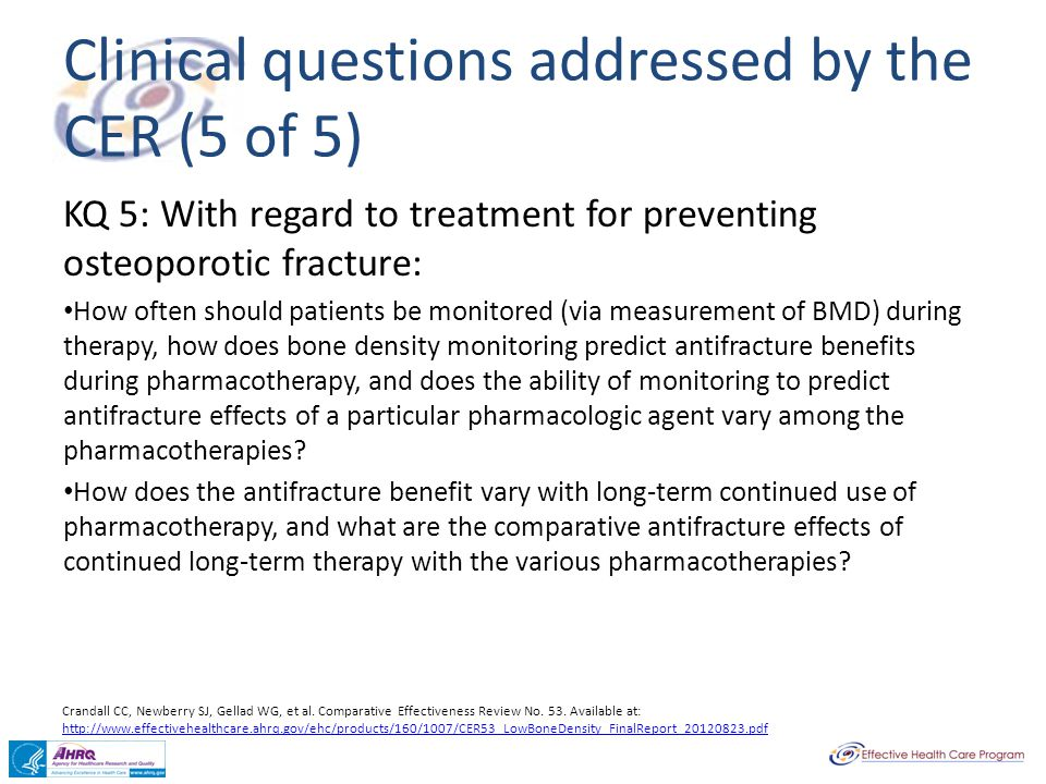 Clinical questions addressed by the CER (5 of 5)