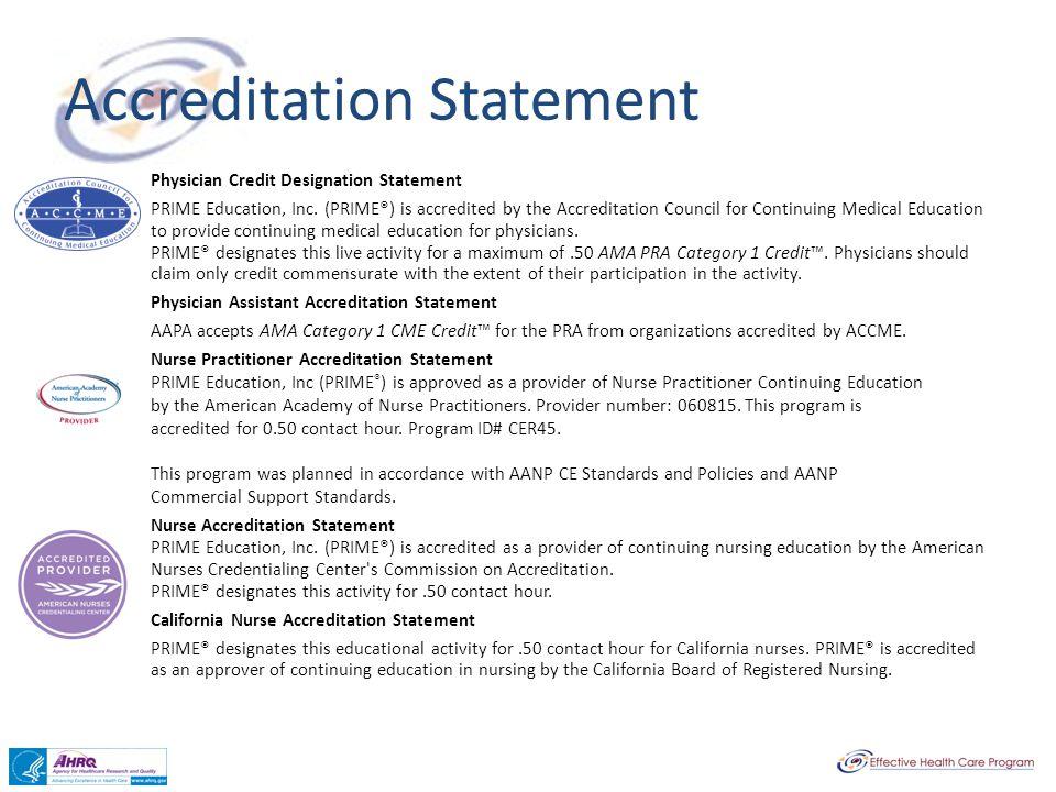 Accreditation Statement