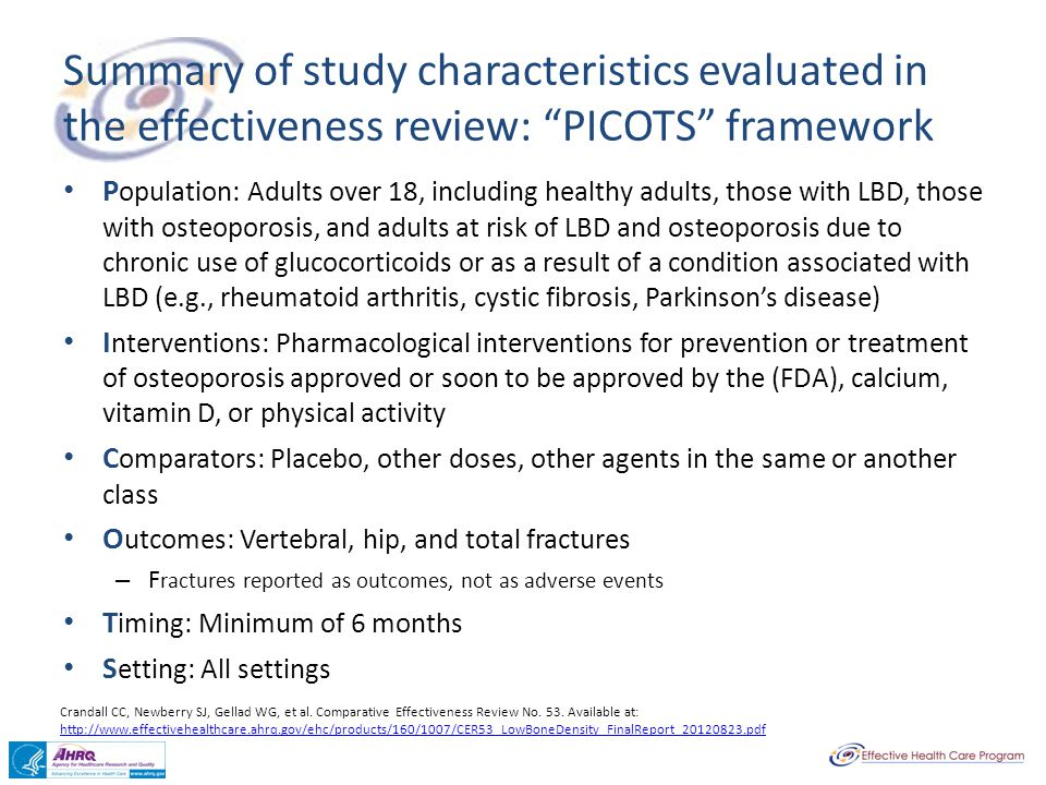Summary of study characteristics evaluated in the effectiveness review: PICOTS framework
