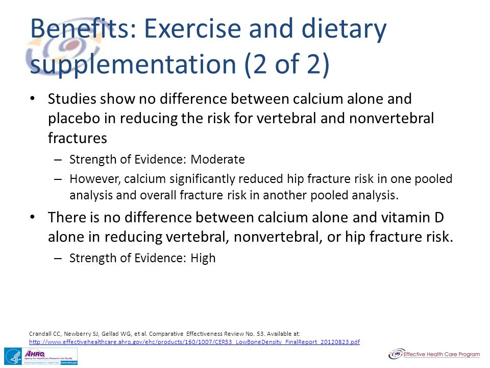 Benefits: Exercise and dietary supplementation (2 of 2)