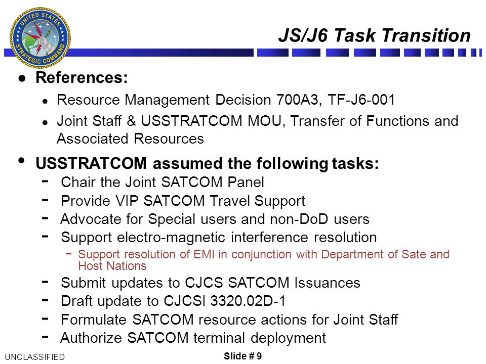JS/J6 Task Transition References: