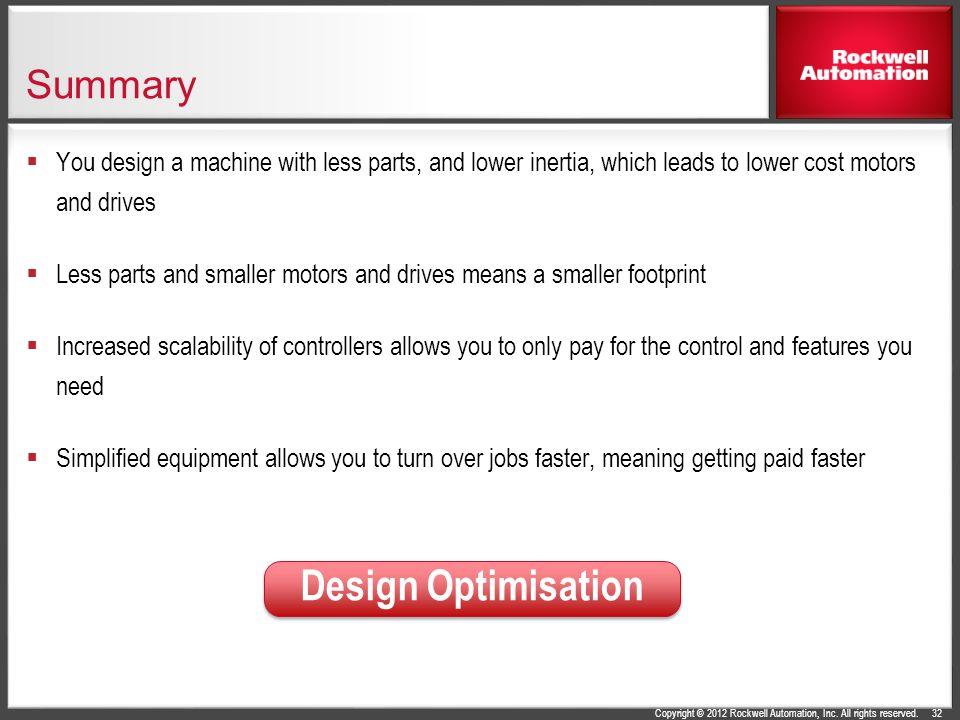 Design Optimisation Summary