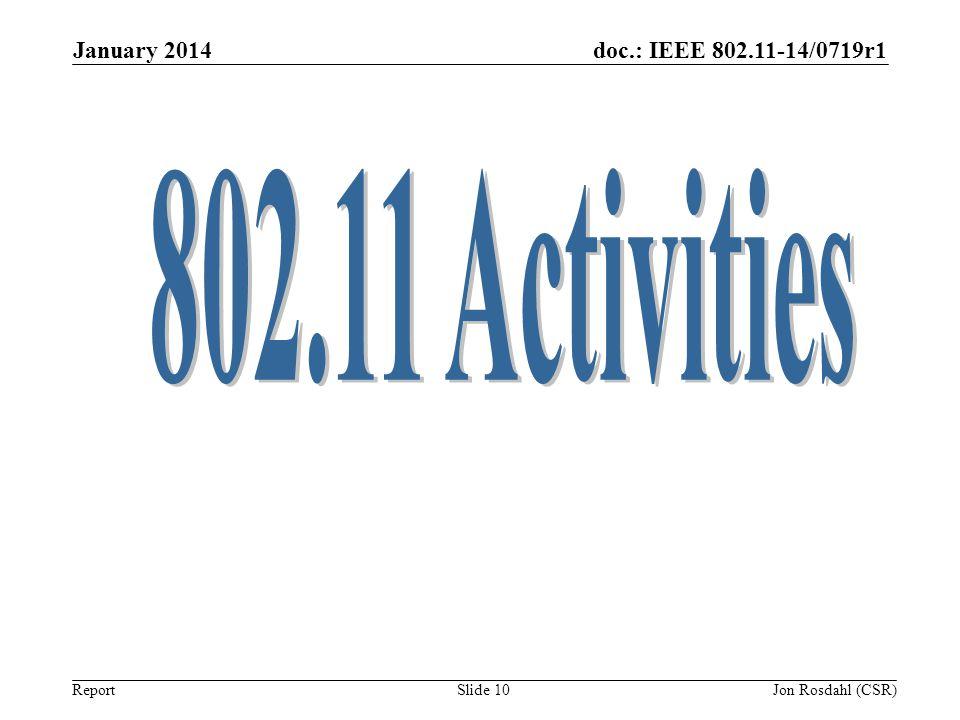 January 2014 802.11 Activities Jon Rosdahl (CSR)