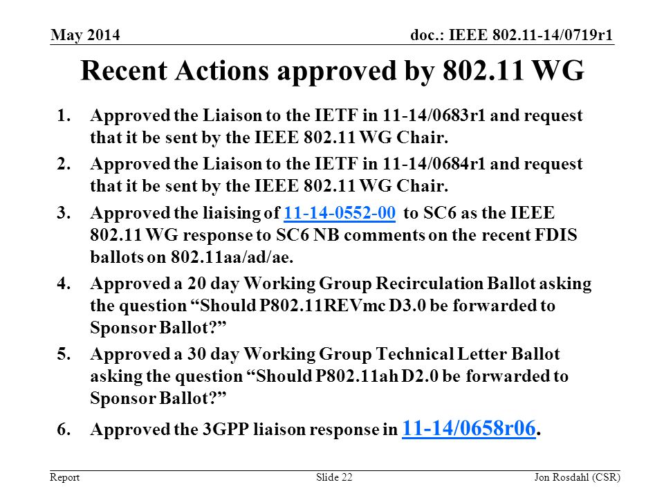 Recent Actions approved by 802.11 WG