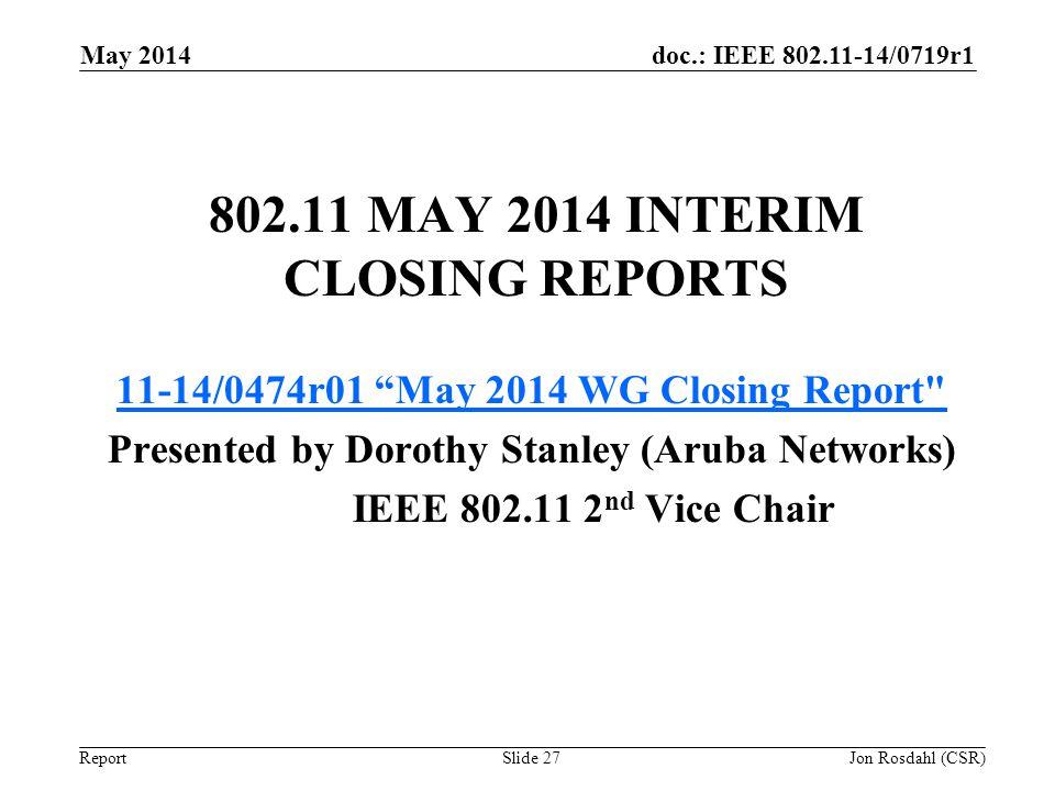 802.11 May 2014 Interim Closing Reports
