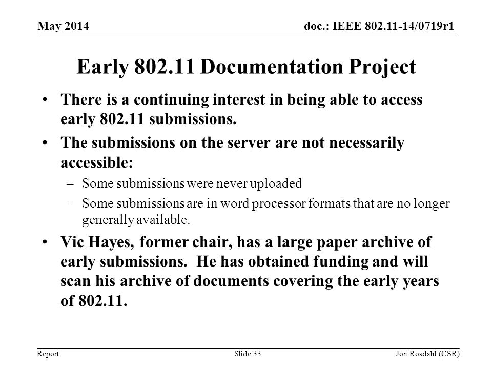 Early 802.11 Documentation Project