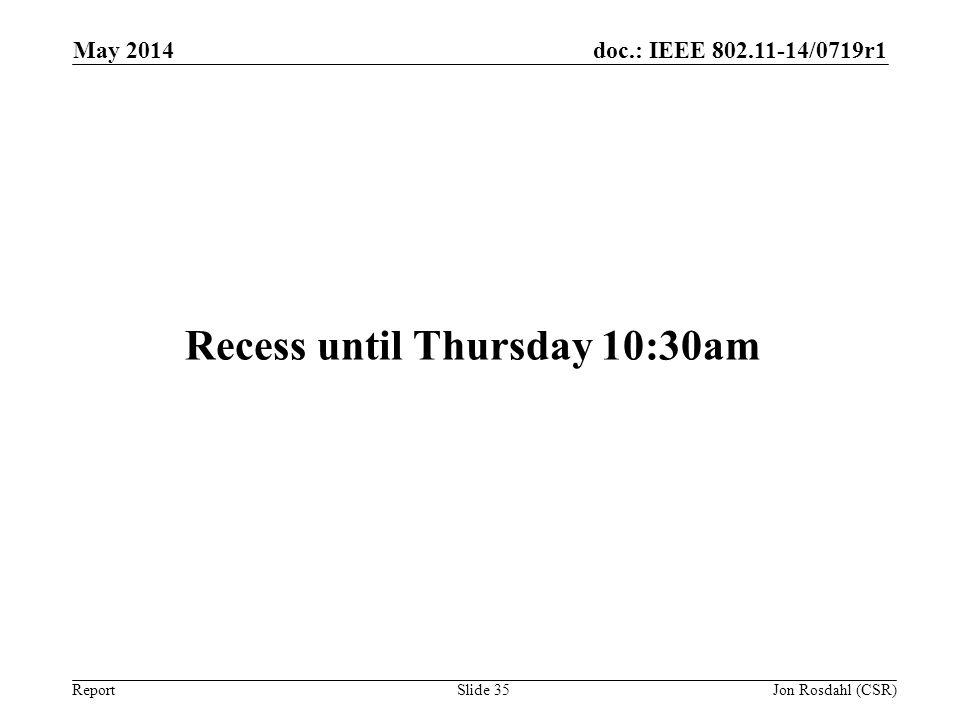 Recess until Thursday 10:30am