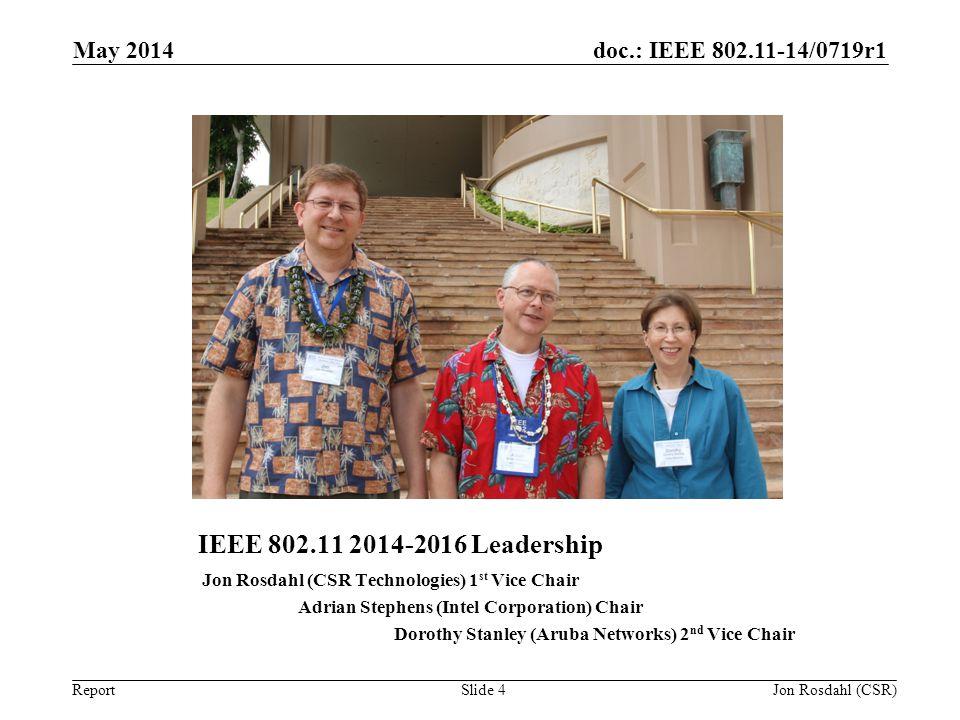 May 2014 IEEE 802.11 2014-2016 Leadership. Jon Rosdahl (CSR Technologies) 1st Vice Chair. Adrian Stephens (Intel Corporation) Chair.