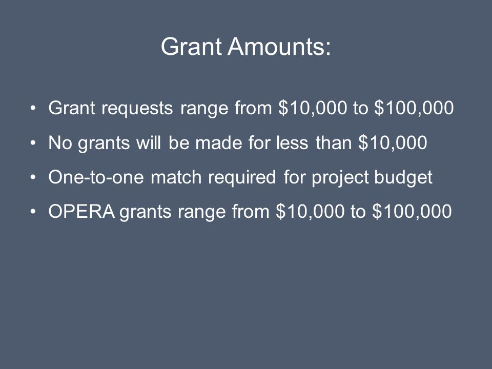 Grant Amounts: Grant requests range from $10,000 to $100,000