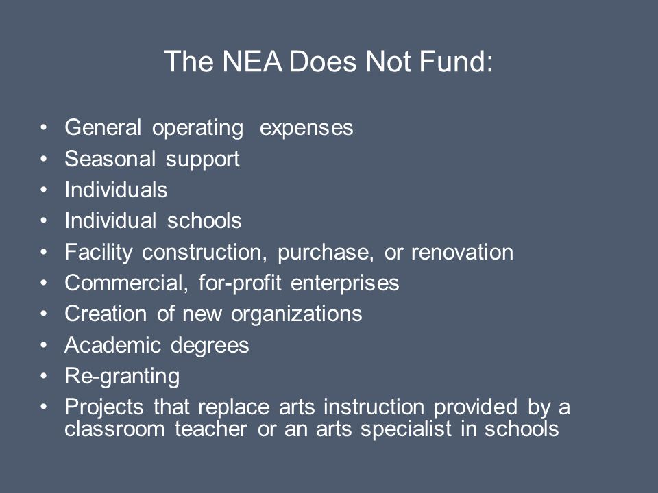 The NEA Does Not Fund: General operating expenses Seasonal support