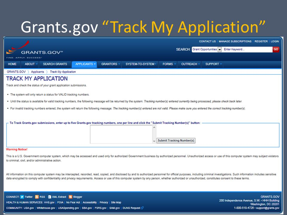 Grants.gov Track My Application