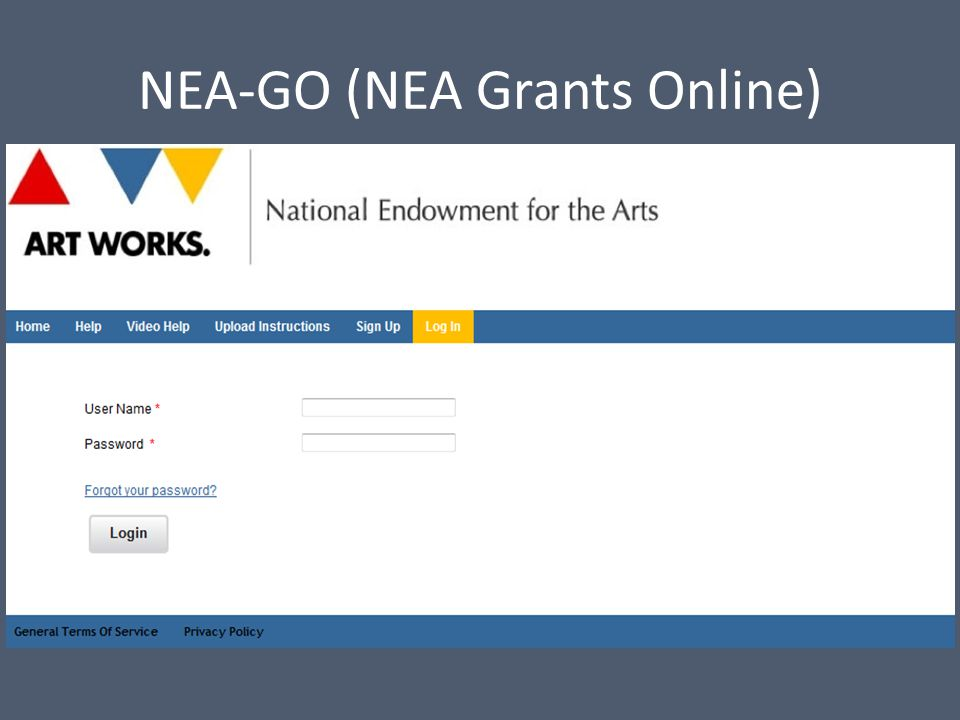 NEA-GO (NEA Grants Online)