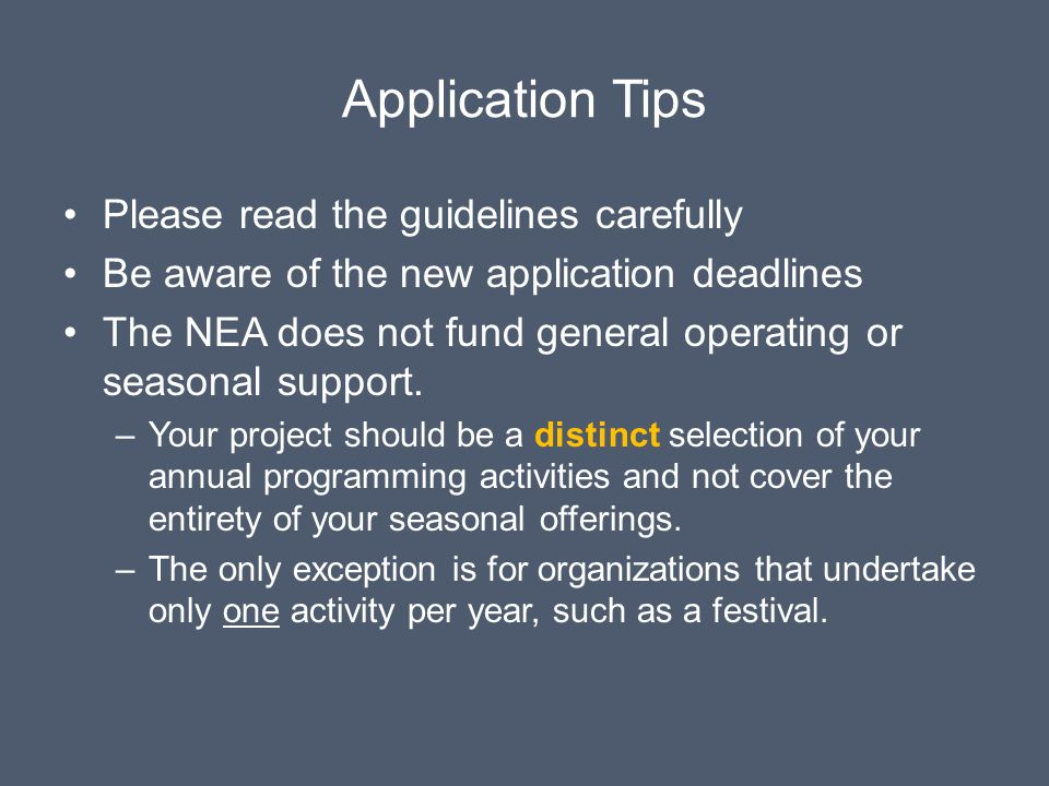 Application Tips Please read the guidelines carefully