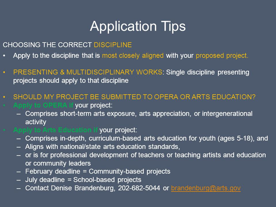 Application Tips Choosing the correct discipline