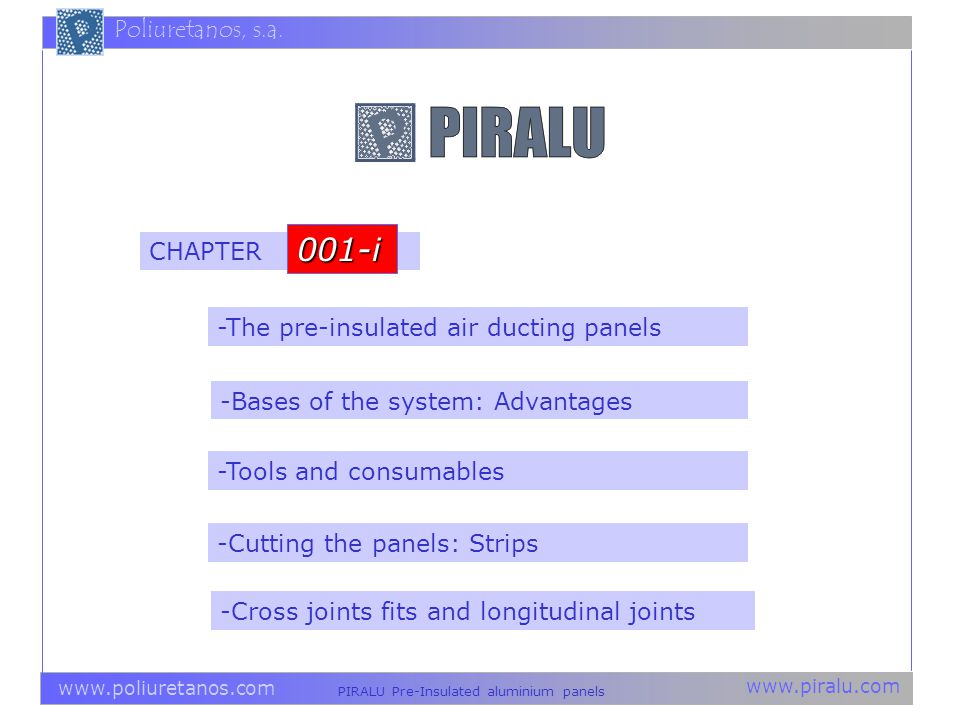 001-i CHAPTER -The pre-insulated air ducting panels