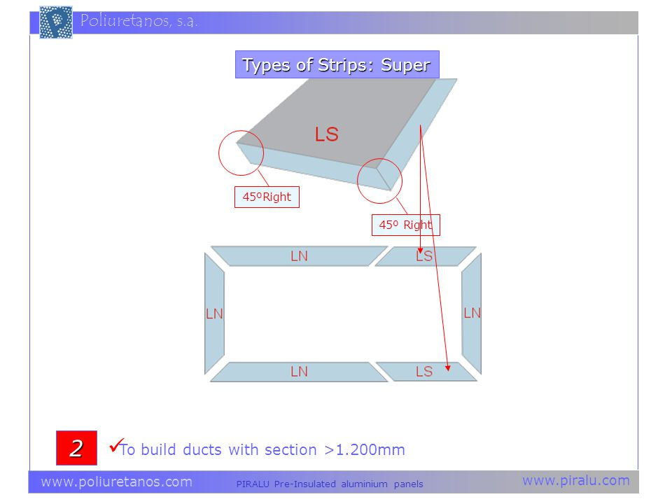2 Types of Strips: Super To build ducts with section >1.200mm