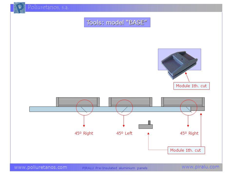Tools: model BASE Module 1th. cut 45º Right 45º Left 45º Right