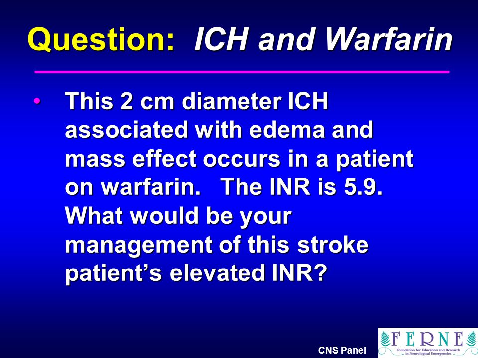 Question: ICH and Warfarin