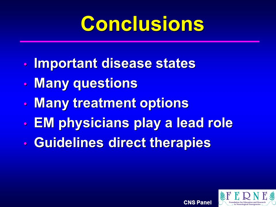 Conclusions Important disease states Many questions