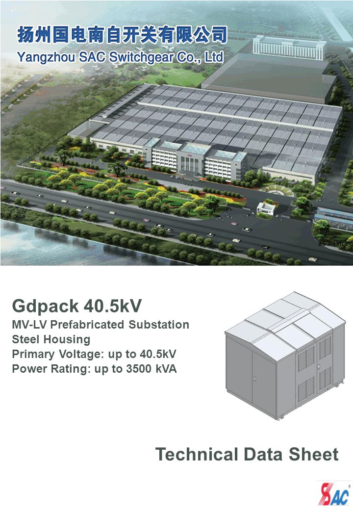 Gdpack 40.5kV Technical Data Sheet MV-LV Prefabricated Substation