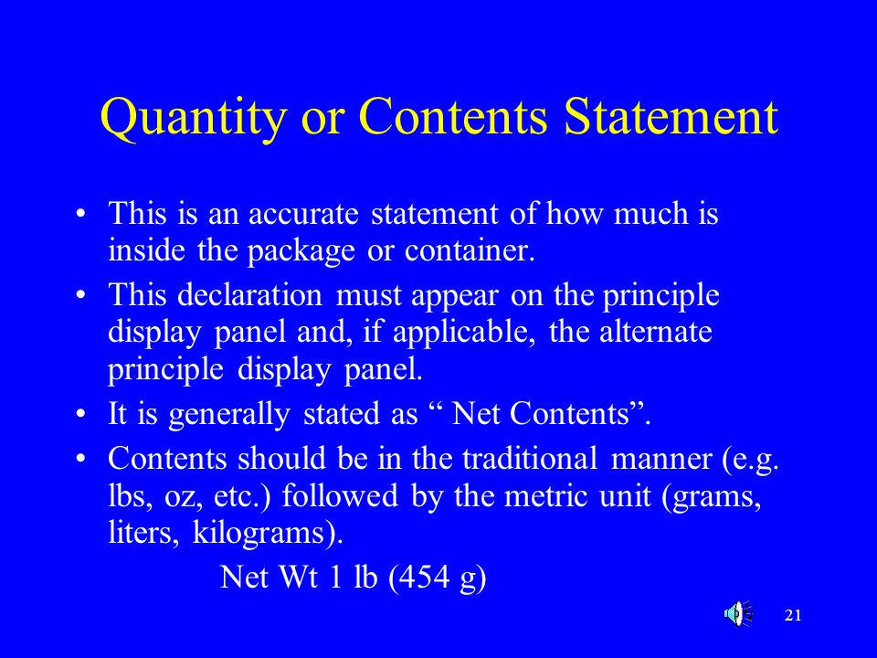 Quantity or Contents Statement