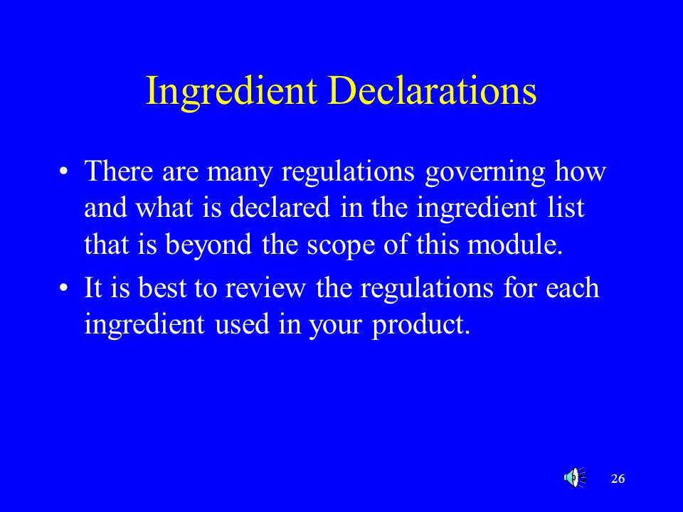 Ingredient Declarations