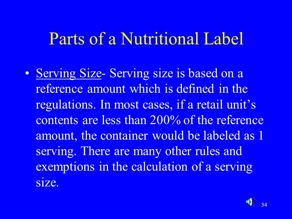 Parts of a Nutritional Label