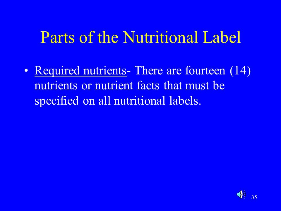 Parts of the Nutritional Label