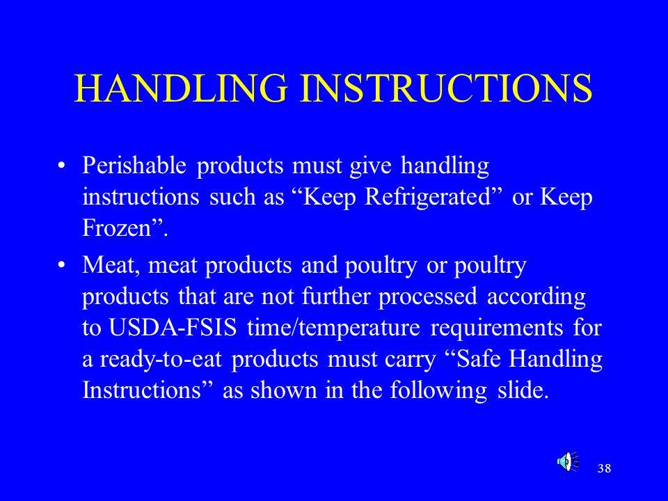 HANDLING INSTRUCTIONS