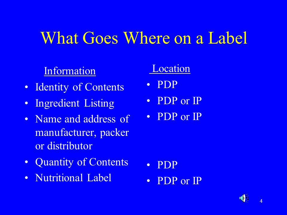 What Goes Where on a Label