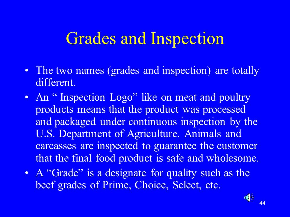 Grades and Inspection The two names (grades and inspection) are totally different.