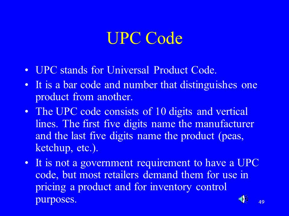 UPC Code UPC stands for Universal Product Code.