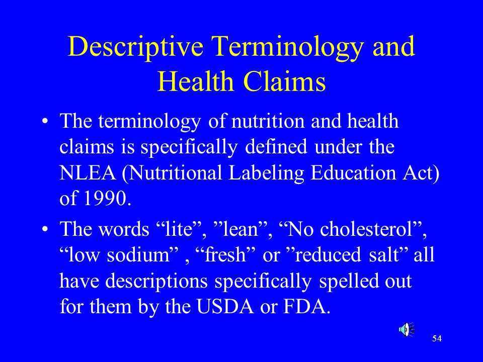 Descriptive Terminology and Health Claims