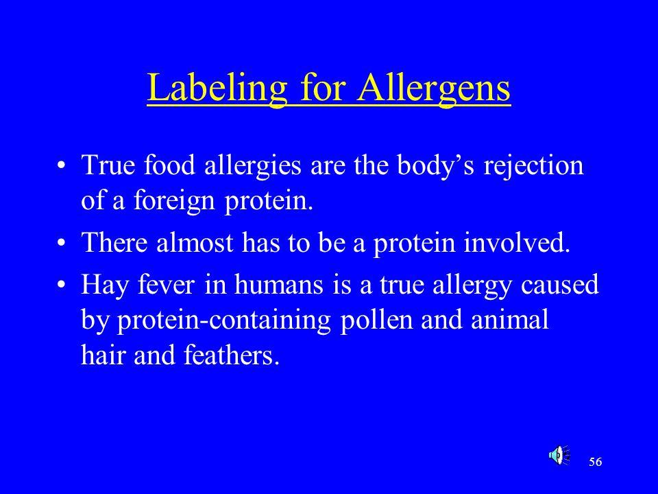Labeling for Allergens