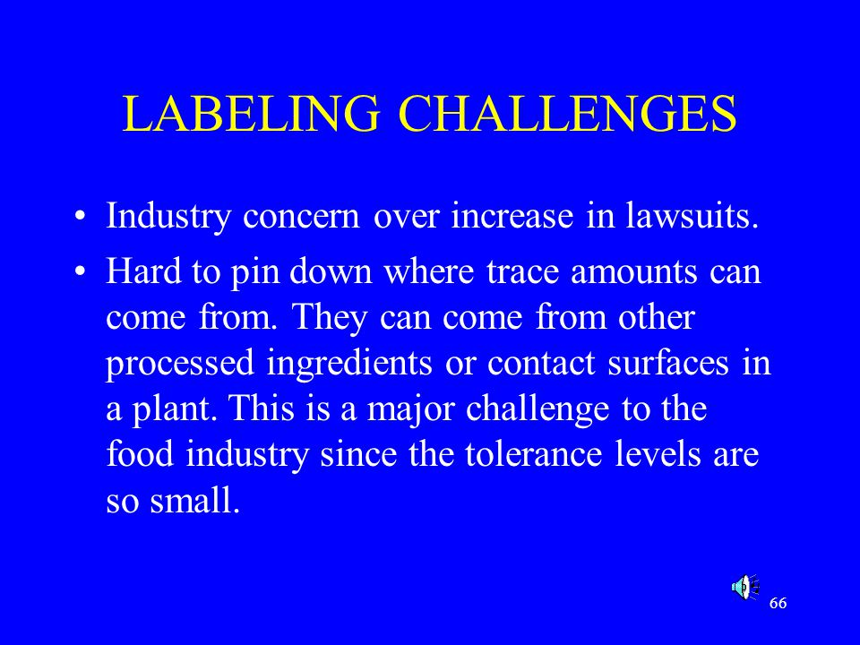 LABELING CHALLENGES Industry concern over increase in lawsuits.
