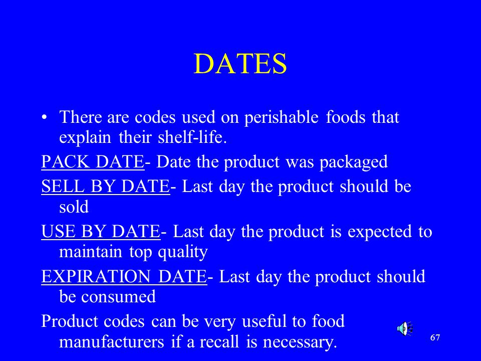 DATES There are codes used on perishable foods that explain their shelf-life. PACK DATE- Date the product was packaged.