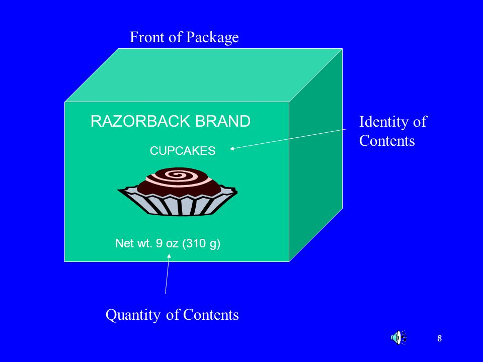 Front of Package RAZORBACK BRAND Identity of Contents