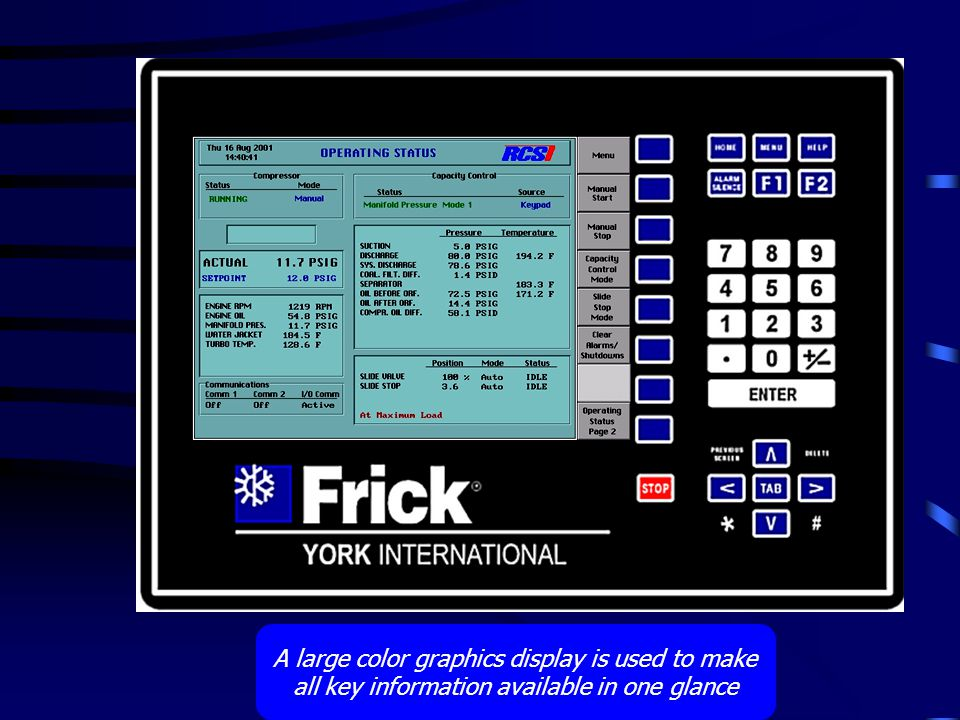 A large color graphics display is used to make