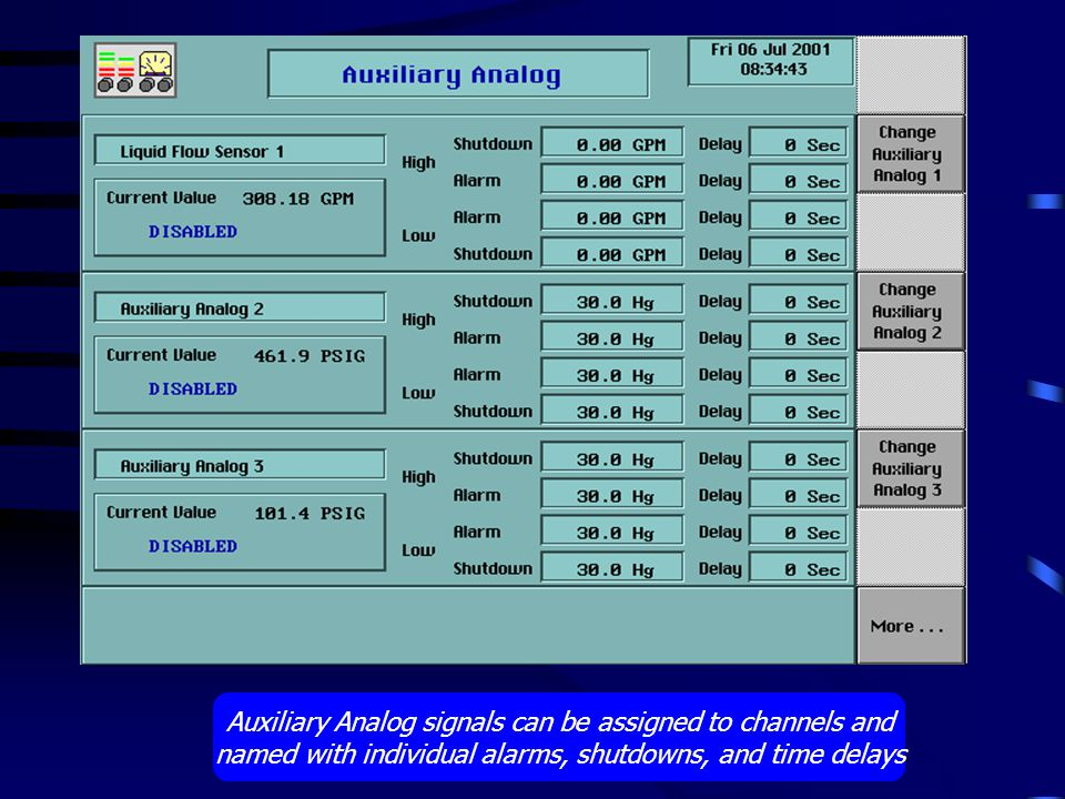 Auxiliary Analog signals can be assigned to channels and