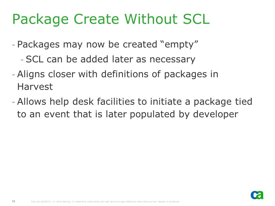 Package Create Without SCL
