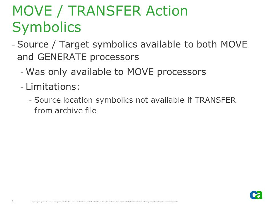 MOVE / TRANSFER Action Symbolics
