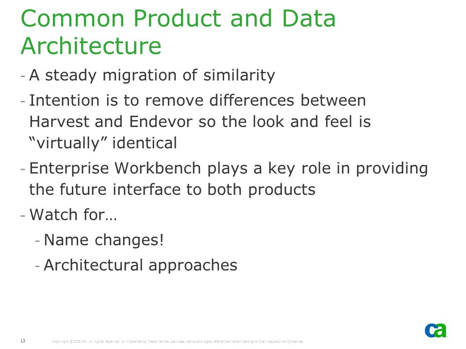 Common Product and Data Architecture